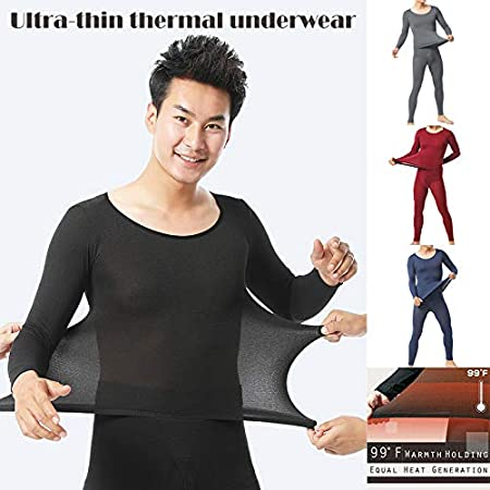 konstante Temperatur elastisch Thermo-Innenkleidung ultrad/ünn blau Gelentea Herren Thermo-Unterw/äsche-Set nahtlos
