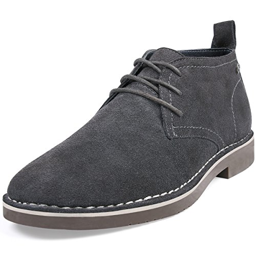 Men's Genuine Suede Leather Casual Lace Up Dress Chukka Desert Boot Shoes Grey 9.5 D (M) US
