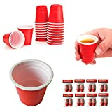 160 Mini Red Cup 2oz Hard Plastic Disposable Jello Jelly Shot Glasses Party
