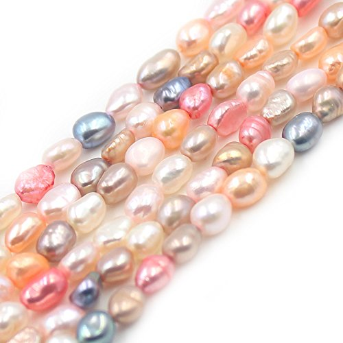 SR BGSJ Jewelry Making Natural 5x7mm Freeform Mixed Freshwater Pearl Seed Spacer Beads Strand 15