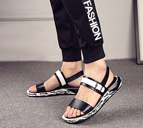 Sandalias Drag Zapatos Vueltas los Usan al de Casuales Cien HAOYUXIANG Hombres Transpirable Playa Black Playa Aire Libre Hombres Zapatos de Romanos Jóvenes Zapatos Zapatos Inglaterra Cool de Cien Sxw4Oqa