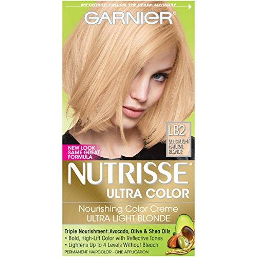 (Garnier Nutrisse Ultra Color Nourishing Permanent Hair Color Cream, LB2 Ultra Light Natural Blonde (1 Kit) Blonde Hair Dye (Packaging May Vary))