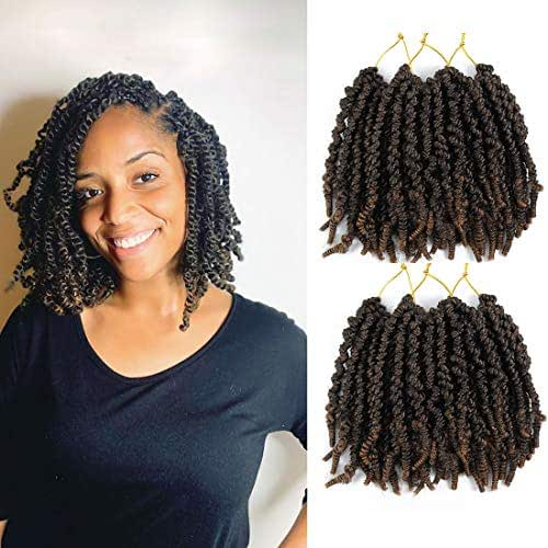 6 Packs Pre-twisted Spring Twist Hair 8 inch Pre-Twisted Passion Twists Crochet Braids For Bob Spring Twists Short Curly Bomb Twist Braiding Hair Hair Extensions (8''6Pcs-T1B 27)