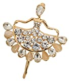 Abstract Gold Tone Ballerina Dancer Brooch Pin 1.8'' with Crystal and Stone Accents