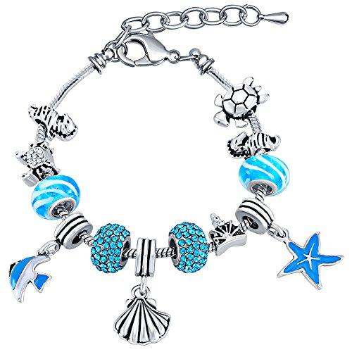 MANBARA Women's Ocean Themed Beach Charm Beaded Bracelet (T02BR Seafish bracelet) -