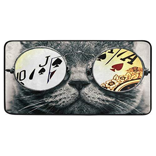 Black Cat Poker Glass Doormat Area Rug Long Floor Mats Door Pad Indoor Outdoor Carpet for Home Kitchen Bathroom