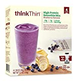 thinkThin High Protein Smoothie Mix, Blueberry Banana, 1.38 oz Packet (4 Count)
