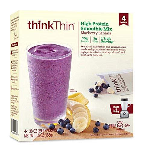 High Protein Smoothie Mix by thinkThin  Whey Protein Powder 15g Protein 5g Fiber Gluten Free NonGMO 3 Fruit Serving  Blueberry Banana 138 oz Packet 4 Count
