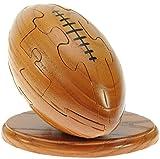 Rugby Ball 3D Puzzle en bois + keyring gratuit: nouveauté d'amusement de Noël et cadeau d'anniversaire: Idée teaser de cerveau cadeau: Jigsaw: Ornement: Cadeaux pour les enfants, les hommes, les garçons, les fans de rugby: Taille 11 x 15 x 9.5cm