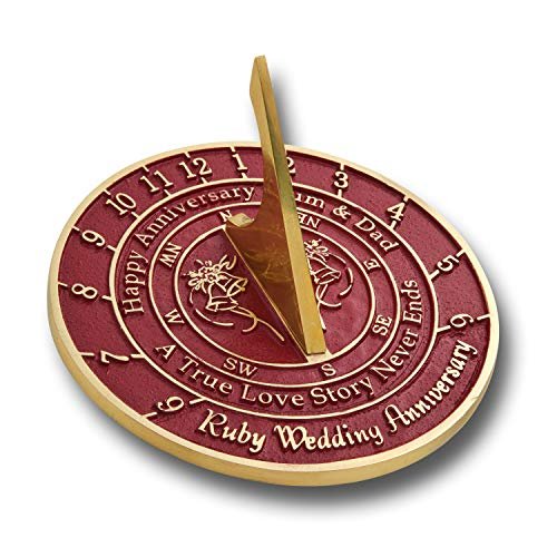 The Metal Foundry Personalized 40th Ruby Wedding Anniversary Sundial Gift Idea is A Great Present for Him, for Her Or for A Couple to Celebrate 40 Years of Marriage