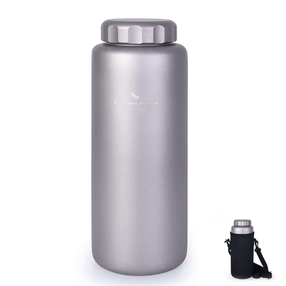 iBasingo 1050 ml/ 800ml/600ml/400ml Titanium Water Bottle Outdoor Leak-Proof Wide Mouth Sport Drinking Bottle Camping Tea Coffee Canteen Kettle for Hiking Climbing Running