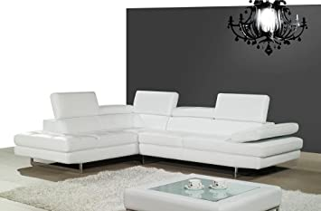 Ju0026M Furniture 178551 LHFC A761 Italian Leather Sectional White In Left Hand  Facing