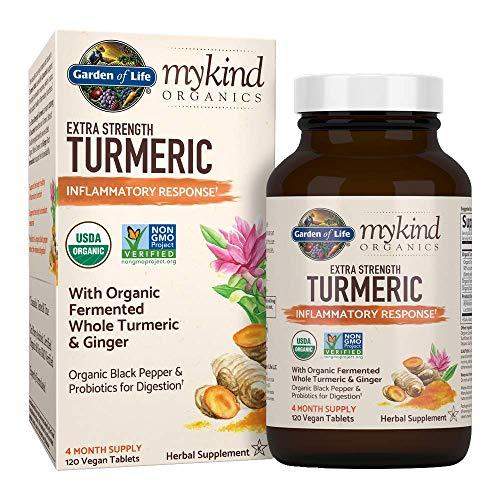 Garden of Life mykind Organics Extra Strength Turmeric Inflammatory Response 120 Tablets-100mg Curcumin (95% Curcuminoids) Black Pepper, Probiotics, Organic Non-GMO Vegan Gluten Free Herbal Supplemen (Life Garden)