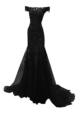 Kevins Bridal Off-Shoulder Mermaid Prom Dresses Long Beaded Lace Evening Dress Black Size 2