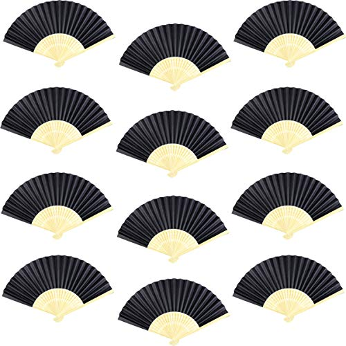 Neworkg 12 Pack Bamboo Folding Fans Paper Hand Held Fans for Wedding Party and Home DIY Decoration(Black) -