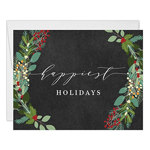 (Holiday Greeting Cards (Set of 25) Rustic Christmas Folded Notecards with Envelopes Box Set Blank Inside, Chalkboard Shabby Chic Wreath Holly Greenery Seasonal Excellent Value by Digibuddha VH0002B)