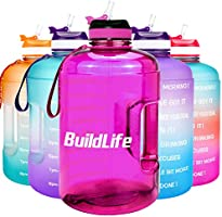 BuildLife Gallon Motivational Water Bottle Wide Mouth with Straw & Time Marked to Drink More Daily - BPA Free Reusable...