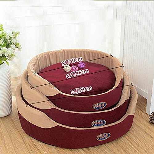 Shalleen Large Dog Bed Kennel Oversize Medium Small Cat Pet Puppy Bed House Soft Warm (L, WINE RED) (Oversized Deluxe Leopard Tail)