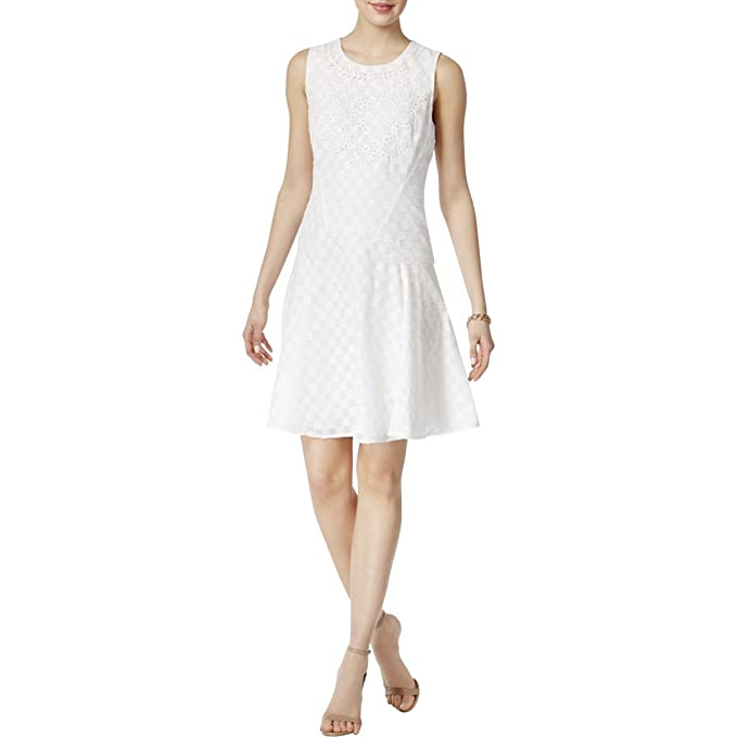 8497eafd Tommy Hilfiger $139 Womens New 1057 White Eyelet Textured Dress 14 B ...