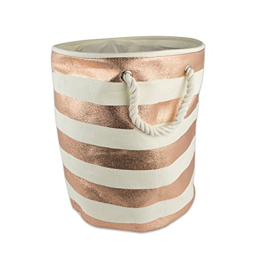 DII Woven Paper Textured Storage Basket, Collapsible & Convenient Storage Solution for Office, Bedroom, Closet, Toys, Laundry - Medium Round, Copper Stripe (Bedroom Storage Baskets compare prices)