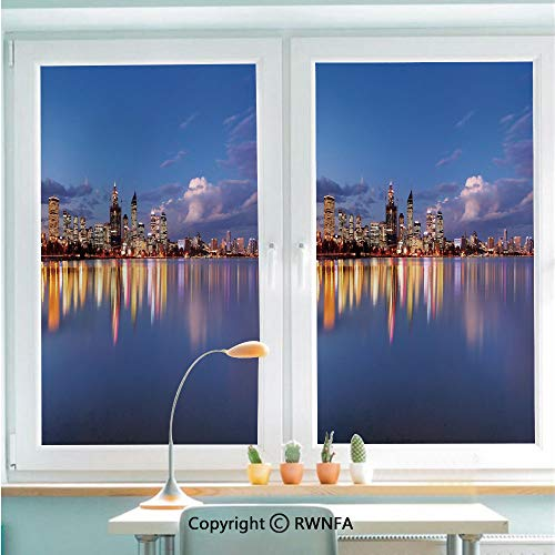 Window Film Door Sticker Skyline of Perth Western Australia at Night Dramatic Urban Swan River Scenery Decorative Glass Film Both Suitable for Home and Office,22.8 x 35.4inch,Violet Blue Amber
