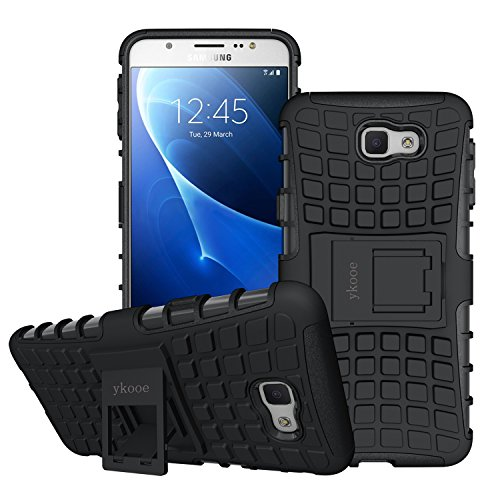 ykooe Galaxy J5 Prime Case, (Silicone Series) Samsung J5 Prime Heavy Duty Protection Hybrid Shockproof Dual Layer Protective Case Cover with Stand for Samsung Galaxy J5 Prime - Black