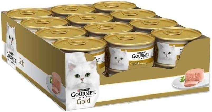 Purina Gourmet Gold Hígado, 24 latas de 85 g de Espuma húmeda para Gatos, 24 Unidades de 85 g
