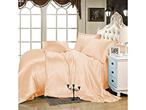 Kanak Bedding Luxurious Ultra Soft Silky Satin 7-Piece Bed Sheet Set with Duvet Set Queen, Peach