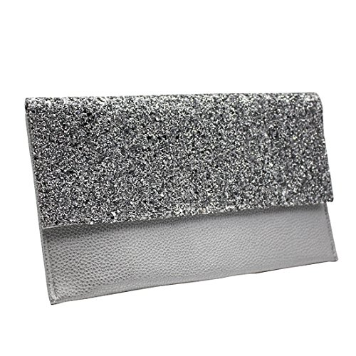 Party Evening Silver Glitter Sparkly Bag Bridal Envelope Clutch Silver Purse Gold Womens Leather Handbags Black Prom 7RfZzwndx