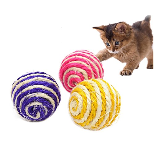 Toruiwa 3X Kauen Spielzeug Sisal Ball Hundespielzeug Kätzchen Kugel Bälle für Haustier Katzen Hunden Zufällige Farbe