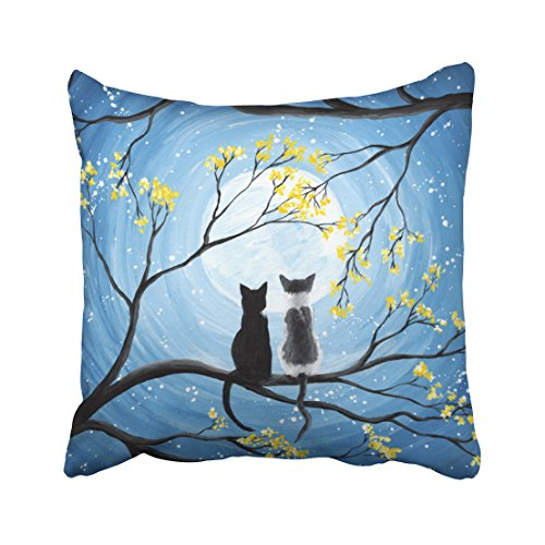 Emvency Square 18x18 Inches Decorative Pillowcases moon whimsical moon with cats Cotton Polyester Decor Throw Pillow Cover With Hidden Zipper For Bedroom Sofa