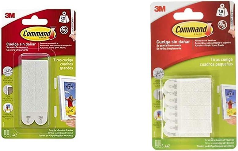 Command 17206 Pack de 8 tiras para cuadros grandes color blanco, Set de 8 Piezas + 17202, Tiras para Colgar Cuadros, Blanco, Pequeñas, (hasta 1,8 kg)