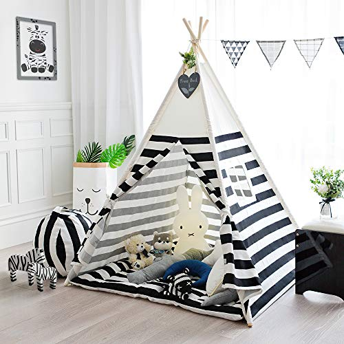 - Tree Bud Children Play Tent Cotton Canvas Kids Indian Teepee Tent with Black Stripe Portable and Durable Tent for Kids Play Indoors Outdoors