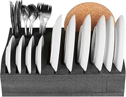 51tgcaG5X%2BL SCHAUMEX® Camping Set - Tellerhalter und Besteckhalter mit Platz für 12 Teller + Tassenhalter XL für Platz bis zu 8…
