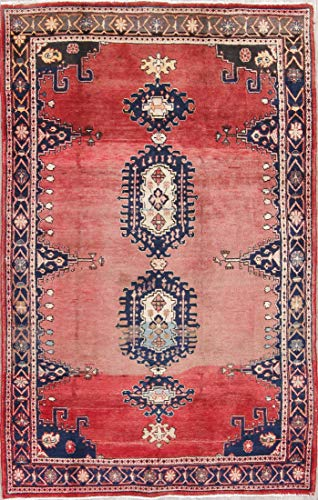 Rug Source Traditional Viss Wool Hand Knotted Persian Red Oriental Vintage Area Rug 5x7 (7' 4