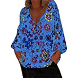Women Paisley Printed Long Sleeve Henley V Neck Pleated Casual Flare Tunic Blouse Shirt Plus Size Floral LIM&Shop Light Blue
