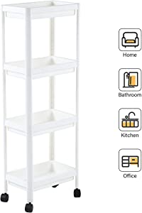UNooMe Rolling Cart Bathroom Organizer - Kitchen Cart Shelving Storage Organizer 4 Tier Cart Utility Carts Perfect for Office Kitchen Bedroom Bathroom Laundry Room Dressers
