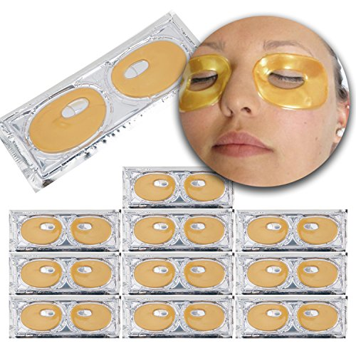 Hydration Facial Peel Off Mask - Set Kit of 10 Pairs 24 K Gold Golden Collagen Gel Crystal Masks Eyelids Patches Anti Aging Pads Puffy Eyes for Wrinkles Crows Feet, Dark Circles and Puffiness Removal and Hydration