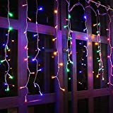 Christmas LED Icicle Lights, 13FT 96 LED Fairy String Lights Plug in Extendable Curtain Light String Christmas Lights for Bedroom Patio Yard Garden Wedding Party (Multicolor)