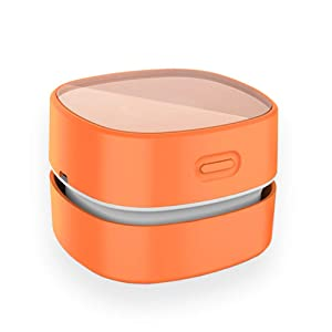 ODISTAR Desktop Vacuum cleaner,Mini table dust sweeper Energy Saving with auto power-off function,High endurance up to 400 mins,Cordless&360º Rotatable Design for Keyboard/Home/Office(orange charging)