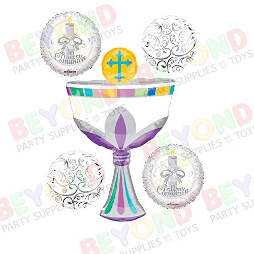 First Communion Foil Mylar 5 counts Balloon Bouquet Decorations]()