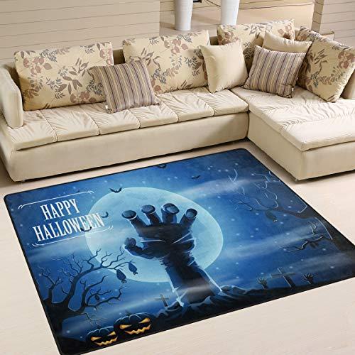 (Area Rugs Carpet Doormats 80x58 Inches Full Moon Night Halloween Horror Hand for Living Room Bedroom Decorative Non-Slip Floor)