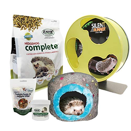 Exotic Nutrition Starter Package for Hedgehogs - Wheel, Food, Treats, Hideout