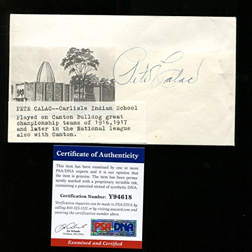 Pete Calac Signed FDC 4x6.5 Autographed Canton Bulldogs Very Rare PSA/DNA Y94618