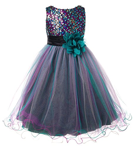 Sequined Bodice (Absolutely Beautiful Sequined Bodice with Double Tulle Skirt Party flower Girl Dress)