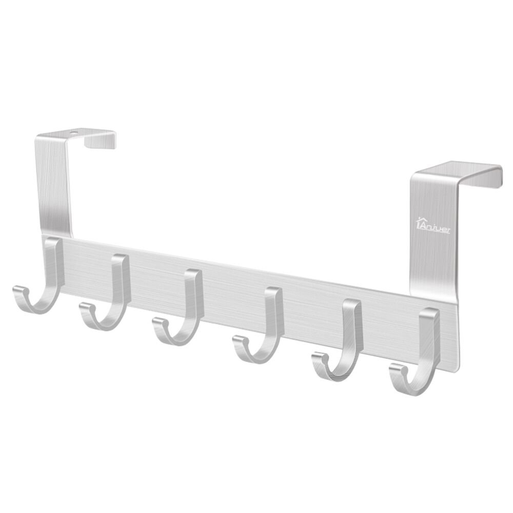 Door Hooks Hanger Rack, Anjuer Aluminum Utility Organizer Holder for Kithchen Bathroom, 6 Hooks Over the Door Hanger Silver
