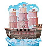 Teamson Kids Pirate Boat Wooden Play House/Play Set with Figurines