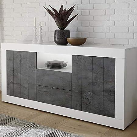 Kasalinea Meuble Bahut 180 Cm Moderne Blanc Et Gris Mabel 6