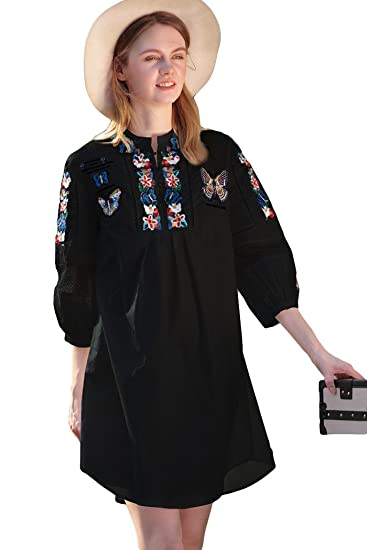 Shineflow Womens Casual 3/4 Sleeve Butterfly Floral Embroidered Peasant Dressy Tops Blouses Shirt Dress Tunic (S, Black) at Amazon Womens Clothing store:
