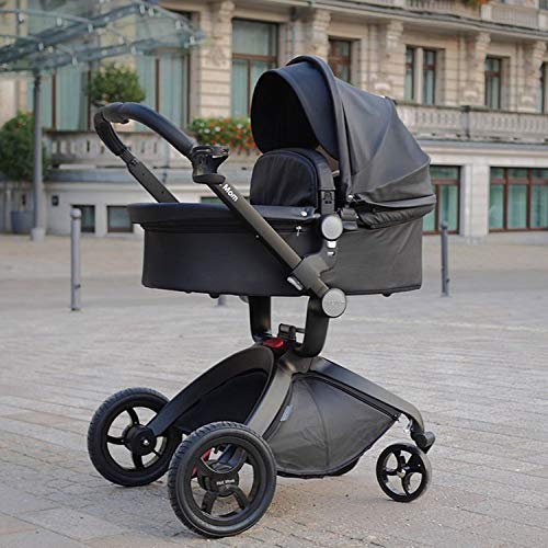 51tgdlTQrfL - Baby Stroller In 2020,Hot Mom Baby Carriage With Adjustable Seat Height Angle And Four-Wheel Shock Absorption,Reversible,High Landscape And Fashional Pram,Black